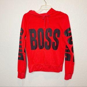 💜💜Graphic Red sweatshirt BOSS print sleeves